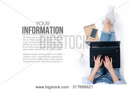 Woman Sitting On White Floor Background. Using Working With Laptop Smartphone Notebook Cup Of Coffee