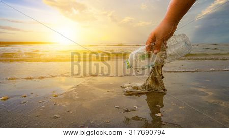 The Hand Is Picking Up Trash On The Beach, The Idea Of Environmental Conservation