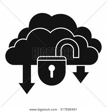 Unlock Data Cloud Icon. Simple Illustration Of Unlock Data Cloud Vector Icon For Web Design Isolated