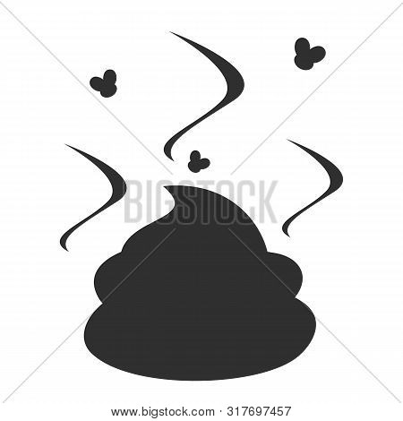 Fly Around The Black Silhouette Of A Stinky Poop Vector Isolated. Dog Excrement. Smelly Stink From T