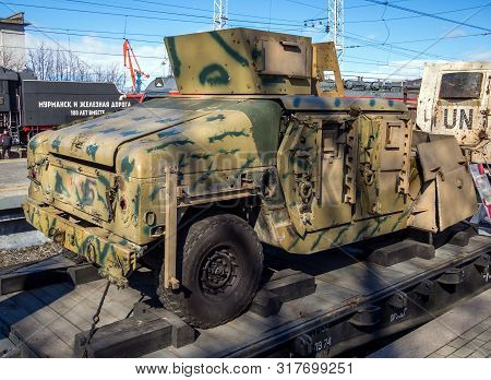 Murmansk, Russia - April 22, 2019: Vehicles Hmmwv M1151 Syrian Militants Traveling Exhibition