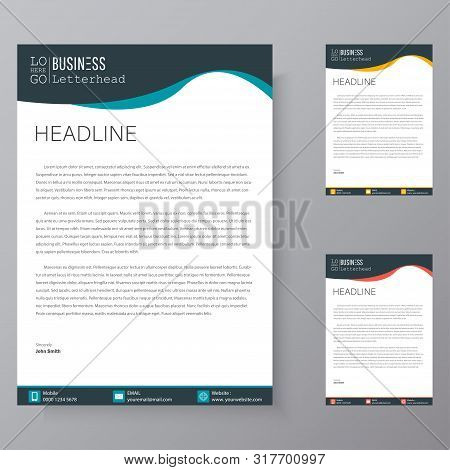 Letterhead Design Template And Mockup Minimalist Style Vector Bundle. Set Design For Business Or Let