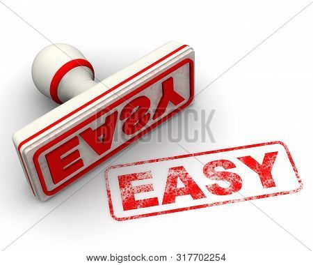Easy. Seal And Imprint. Red Seal And Red Imprint Easy On White Surface. Isolated. 3d Illustration