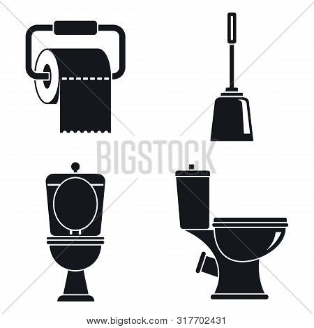 Toilet Wc Icons Set. Simple Set Of Toilet Wc Vector Icons For Web Design On White Background