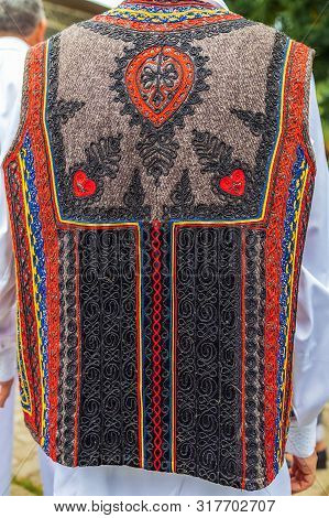 Background With Detail From Traditional Romanian Folk Costume For Man, Specific On Banat Area.