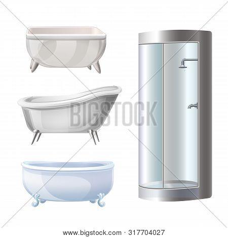 Bathtub Icons Set. Cartoon Set Of Bathtub Vector Icons For Web Design
