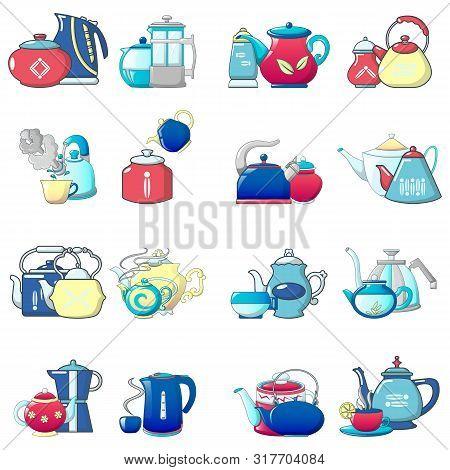Teakettle Icons Set. Cartoon Set Of 16 Teakettle Vector Icons For Web Isolated On White Background