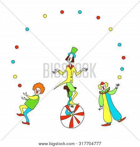 Three Cute Smiling Red And White Clowns Juggling. Color Cartoon Vector Image For Frame.