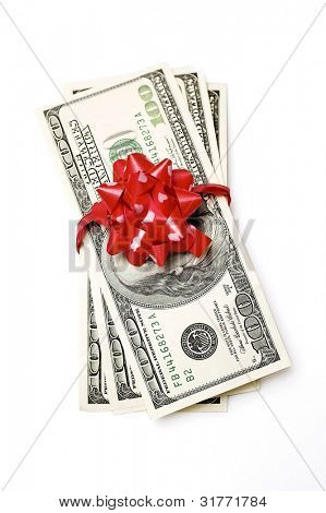 One Hundred Dollar Bills Wrapper in Red Ribbon.