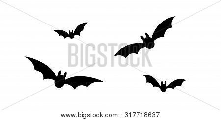 Bats Icon Set. Bat Black Silhouette With Wings Isolated White Background. Symbol Halloween Holiday,