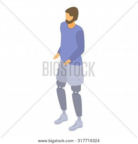 Man Leg Amputation Icon. Isometric Of Man Leg Amputation Vector Icon For Web Design Isolated On Whit