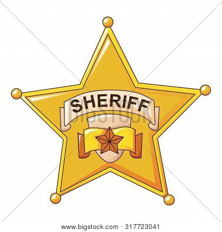 Sheriff Gold Star Icon. Cartoon Of Sheriff Gold Star Vector Icon For Web Design Isolated On White Ba