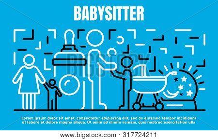 Babysitter Banner. Outline Illustration Of Babysitter Vector Banner For Web Design