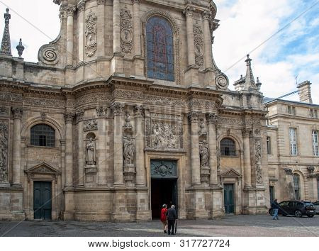 Bordeaux, France - September 9, 2018: Facade Of Eglise Notre Dame, Bordeaux, Gironde Department, Fra