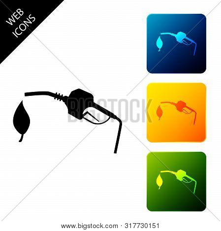 Bio Fuel Concept With Fueling Nozzle And Leaf Icon Isolated On White Background. Natural Energy Conc