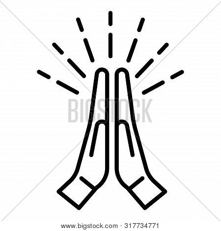 Applauding Hands Icon. Outline Applauding Hands Vector Icon For Web Design Isolated On White Backgro