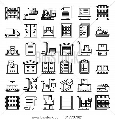 Inventory Icons Set. Outline Set Of Inventory Vector Icons For Web Design Isolated On White Backgrou
