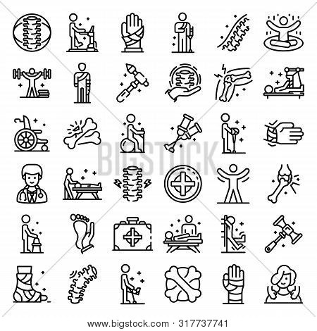 Chiropractor Icons Set. Outline Set Of Chiropractor Vector Icons For Web Design Isolated On White Ba