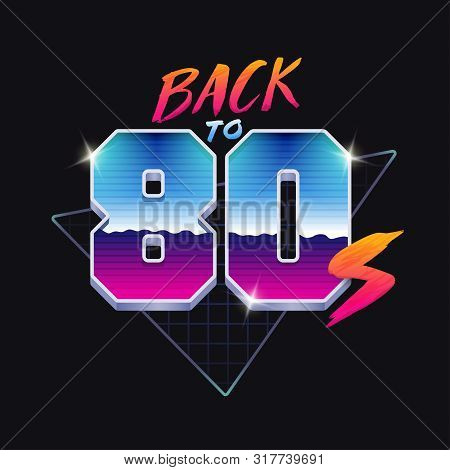 Back To 80s Banner. 80s Style Illustration.