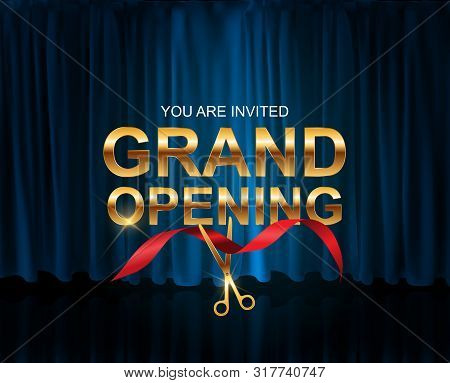 Grand Opening Card With Ribbon Background. Vector Illustration