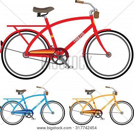 Cruiser Beach Bicycle Vector Illustration Clip-art Image