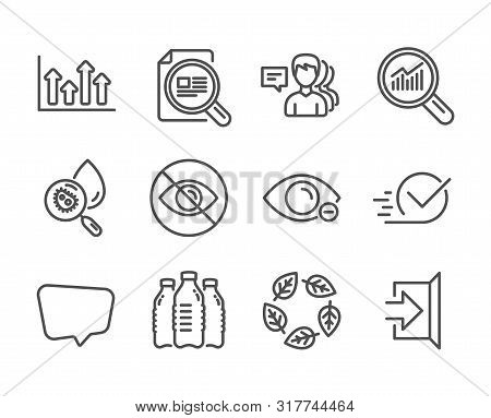 Set Of Business Icons, Such As Water Bottles, Water Analysis, People, Organic Tested, Data Analysis,