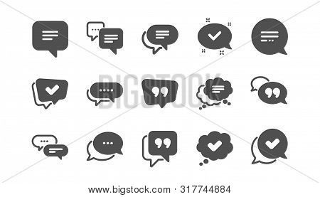 Chat And Quote Icons. Approved, Checkmark Box And Social Media Message. Chat Speech Bubble, Tick Or