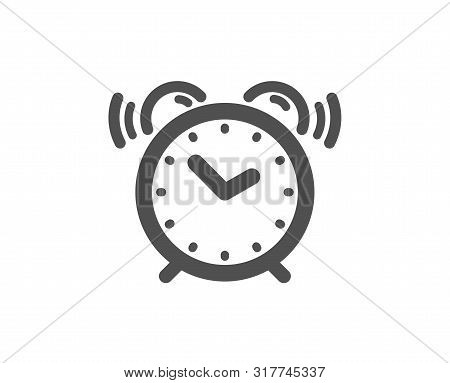 Time Sign. Alarm Clock Icon. Watch Symbol. Classic Flat Style. Simple Alarm Clock Icon. Vector