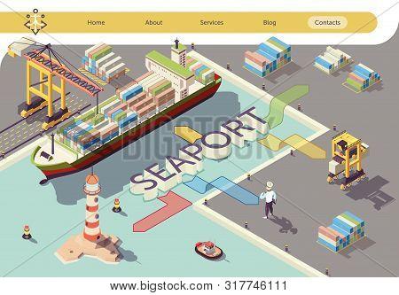 Industrial Seaport Isometric Banner. Ship Cargo Transport Logistics Flowchart Vector 3d Illustration