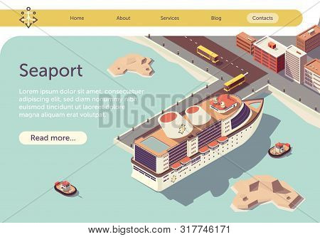 Seaport Isometric Banner With Ocean Liner And Place For Presentation Text. Transport Logistic Sea An