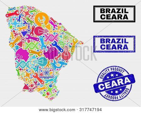 Vector Collage Of Service Ceara State Map And Blue Stamp For Quality Product. Ceara State Map Collag
