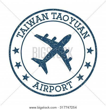 Taiwan Taoyuan Airport Logo. Airport Stamp Vector Illustration. Taipei Aerodrome.