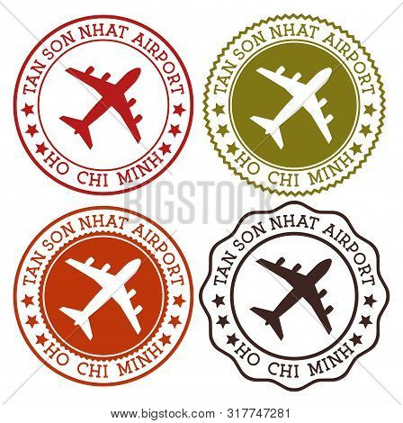 Tan Son Nhat Airport Ho Chi Minh. Ho Chi Minh City Airport Logo. Flat Stamps In Material Color Palet