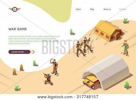 War Game Banner With Military Training Army Camp. Btr In Hangar, Marching Soldiers In Desert Camoufl