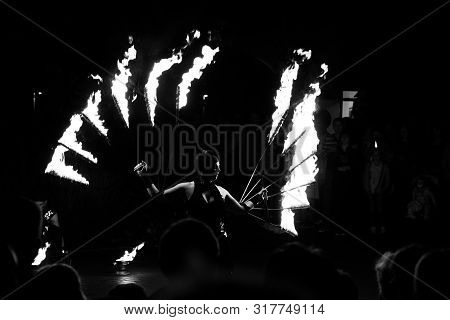 Hamm, Germany 18.08.2019: Fakir, Fire Show. Black And White Photo.