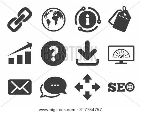 Bandwidth speed, download arrow and mail signs. Discount offer tag, chat, info icon. Internet, seo icons. Hyperlink, monitoring symbols. Classic style signs set. Vector poster