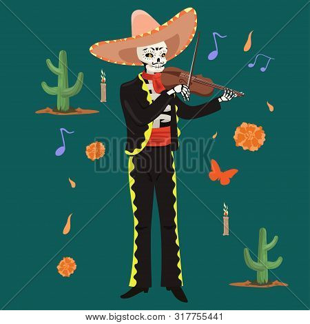 Mexican Musician Skeleton Plays The Violin. Vector Image.