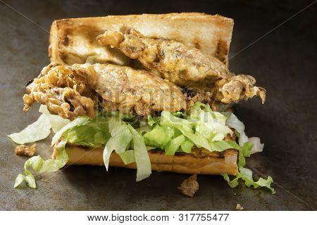 Close Up Of Soft Shell Crab Seafood Po Boy Sandwich