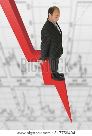 Afraid Businessman On Business Trading Chart Downturn