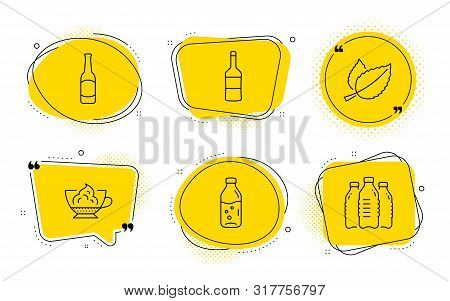Beer, Water Bottle And Water Bottles Signs. Chat Bubbles. Espresso Cream, Wine And Mint Leaves Line