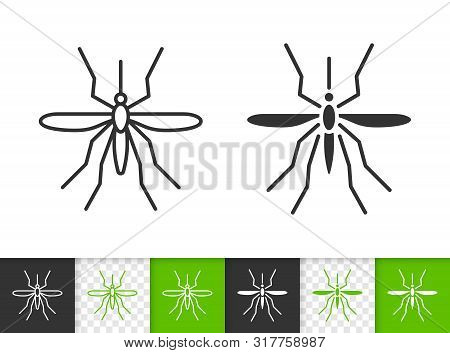 Mosquito Black Linear And Silhouette Icons. Thin Line Sign Of Insect. Bite Outline Pictogram Isolate