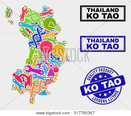 Vector Collage Of Tools Ko Tao Map And Blue Watermark For Quality Product. Ko Tao Map Collage Formed