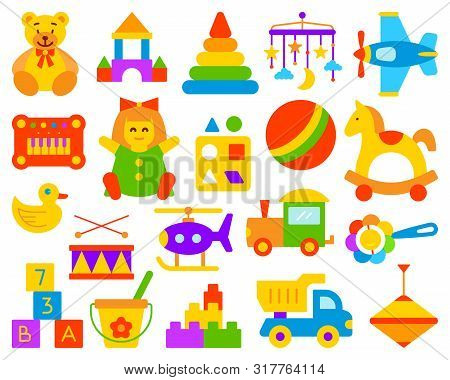 Baby Toy Simple Flat Cartoon Style Set. Kids Game Sign Collection Includes Bear, Ball, Horse. Childr