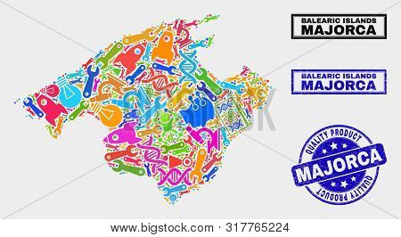 Vector Collage Of Tools Majorca Map And Blue Watermark For Quality Product. Majorca Map Collage Crea