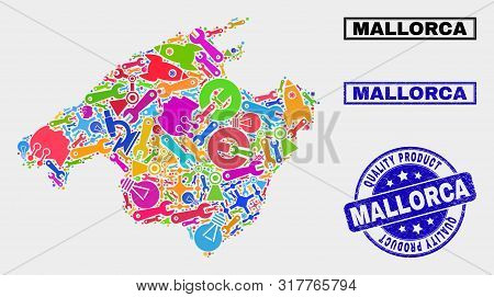 Vector Combination Of Tools Mallorca Map And Blue Stamp For Quality Product. Mallorca Map Collage Co