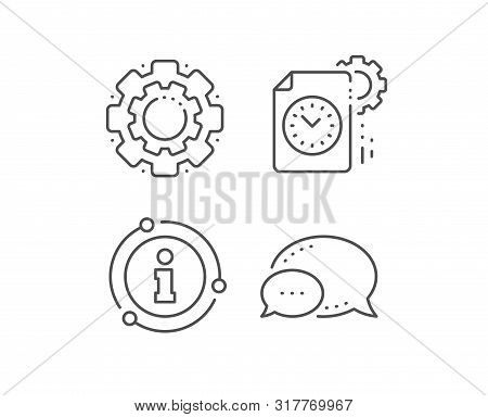 Project Deadline Line Icon. Chat Bubble, Info Sign Elements. Time Management Sign. File With Gear Sy