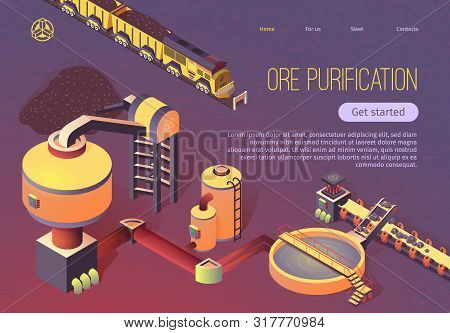 Ore Purification Process At Metallurgy Foundry Isometric Banner. Train With Trolleys, Beneficiation