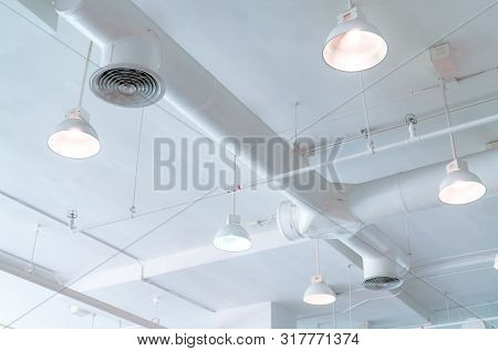 Air Duct, Automatic Fire Sprinkler Safety System. Fire Protection And Detector. Fire Sprinkler Syste