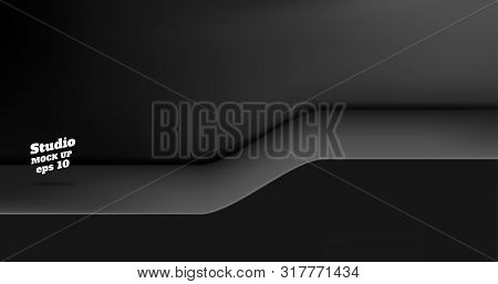 Vector Empty Glossy Black Studio Table With Slope Step Room Background ,product Display With Copy Sp
