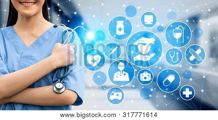 Medical Healthcare Concept - Doctor In Hospital With Digital Medical Icons Graphic Banner Showing Sy